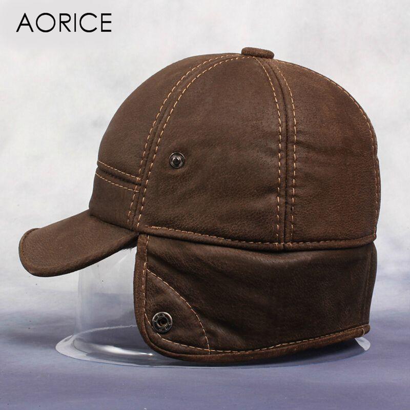 37fc9c60ca5 AorNew Men S Scrub Genuine Leather Baseball Cap Russian Winter Warm Baseball  Hat With Faux Fur Inside HL083 Cap Online Starter Cap From Haydena