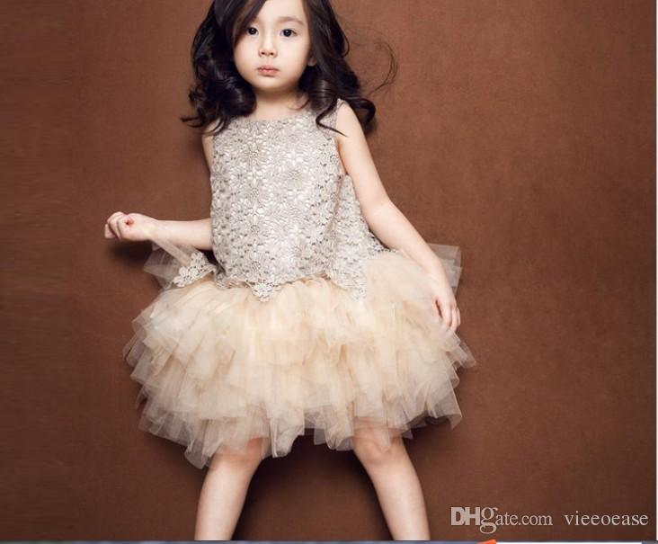 Vieeoease Girls Dress Flower Kids Clothing 2018 Autumn Fashion Sleeveless Vest Embroidery Princess Party Dress KU-002