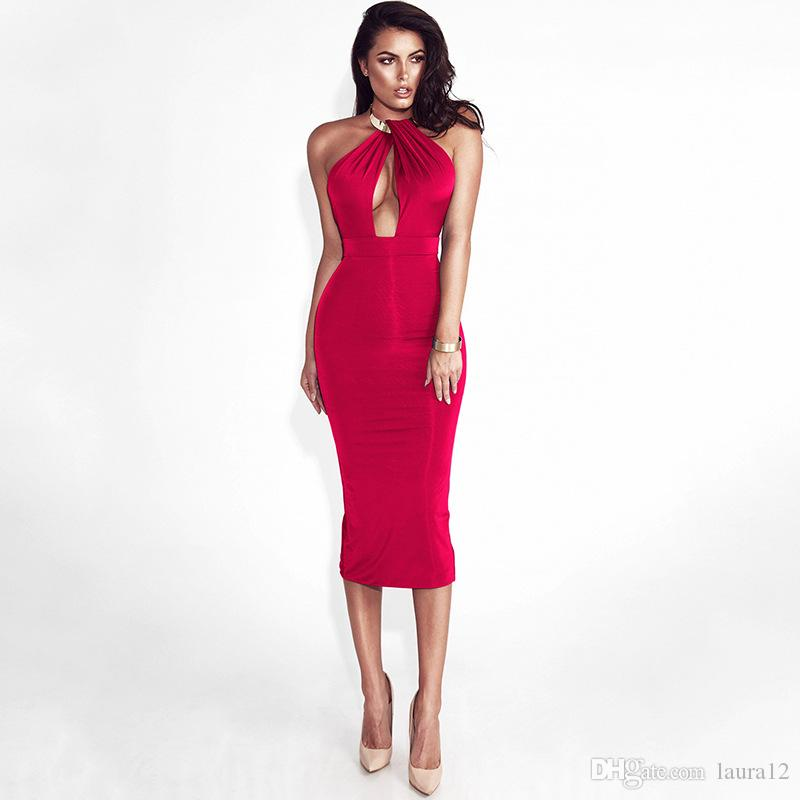Hot Sale Metal Collar Crossed Halter Neck Sexy Women Party Dresses Hollow out Bust Backless Sheath Night Out Club Dress Cheap Bandage Gown