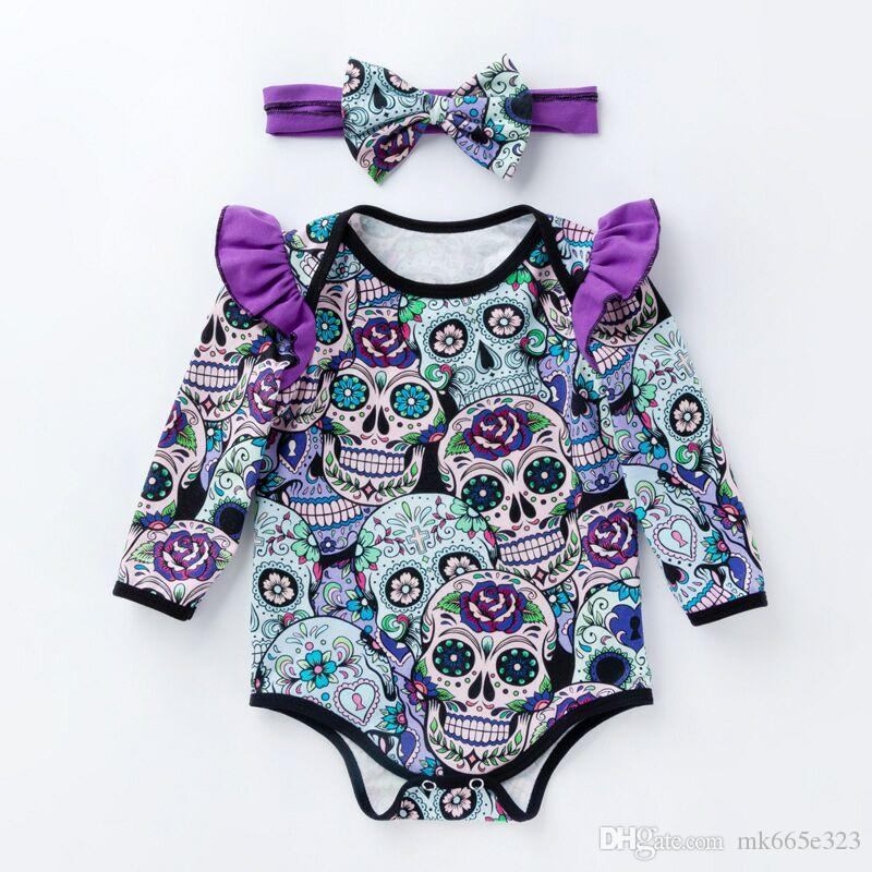 de7a20358b524 2019 Halloween Infant Rompers Headband Boys Girls Skull Cotton Long Sleeves  Clothes For Children Baby Clothing 0 24M From Mk665e323, $5.08 | DHgate.Com
