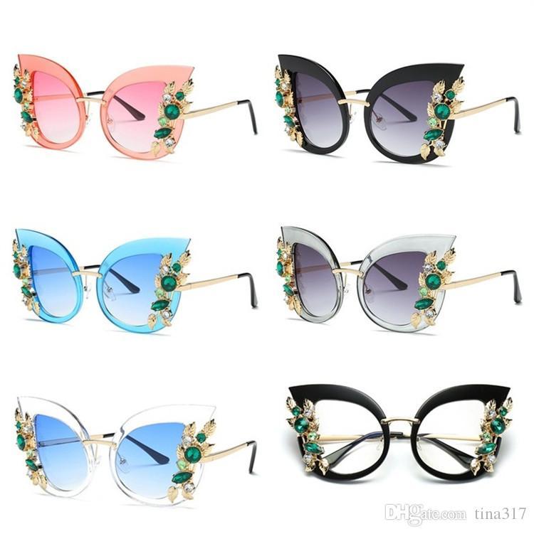ceb78d6450 Womens Oversized Cat Eye Rhinestones Adult Sunglasses Metal Frame Glasses  Fashion Outdoor Eyewear T3C0038 Sunglasses Glasses Eyewear Online with ...
