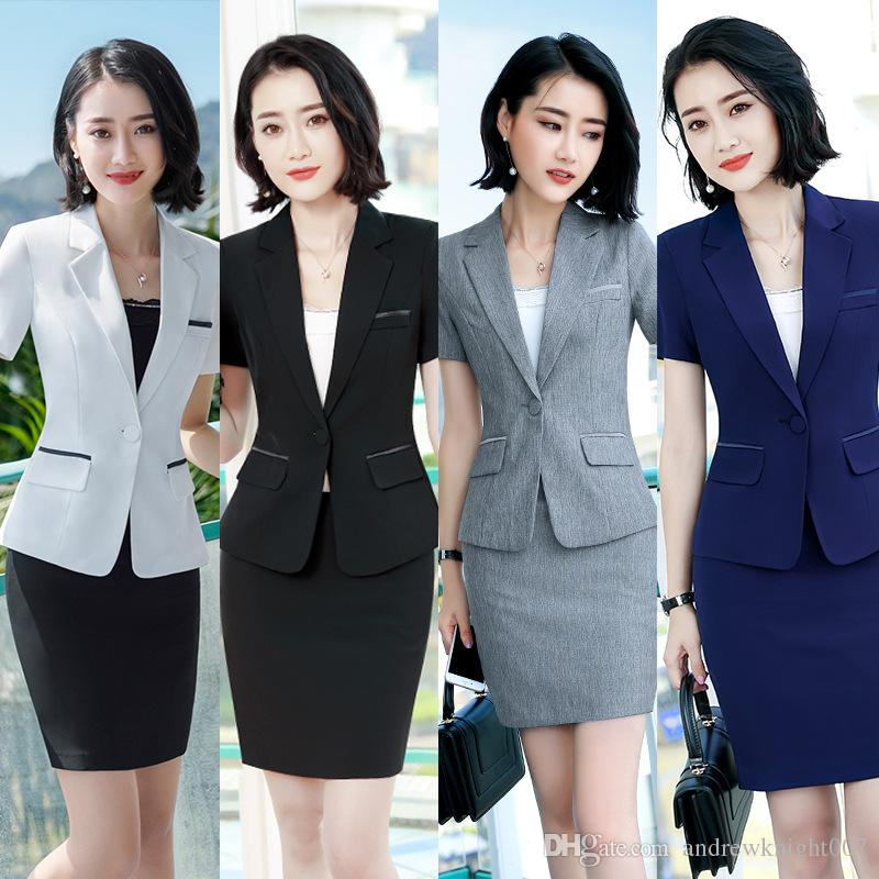 9797beb705f03 Womens Formal 2 Pieces Office Business Blazer and Skirt Suit Set Gray White  Blue Black S-4XL Plus size Short Sleeve Summer Work wear DK835F