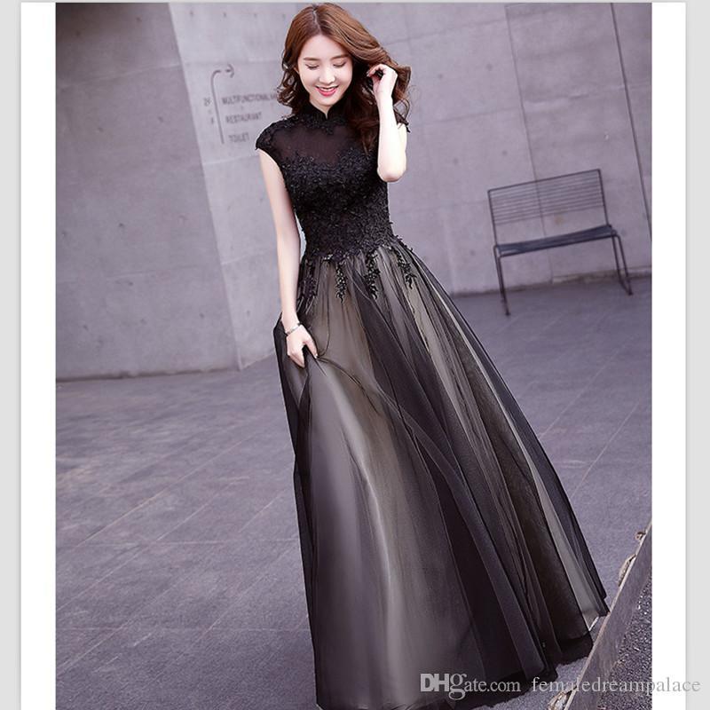 2018 Elegant Black Organza Cap Sleeves Evening Dresses Custom High ...
