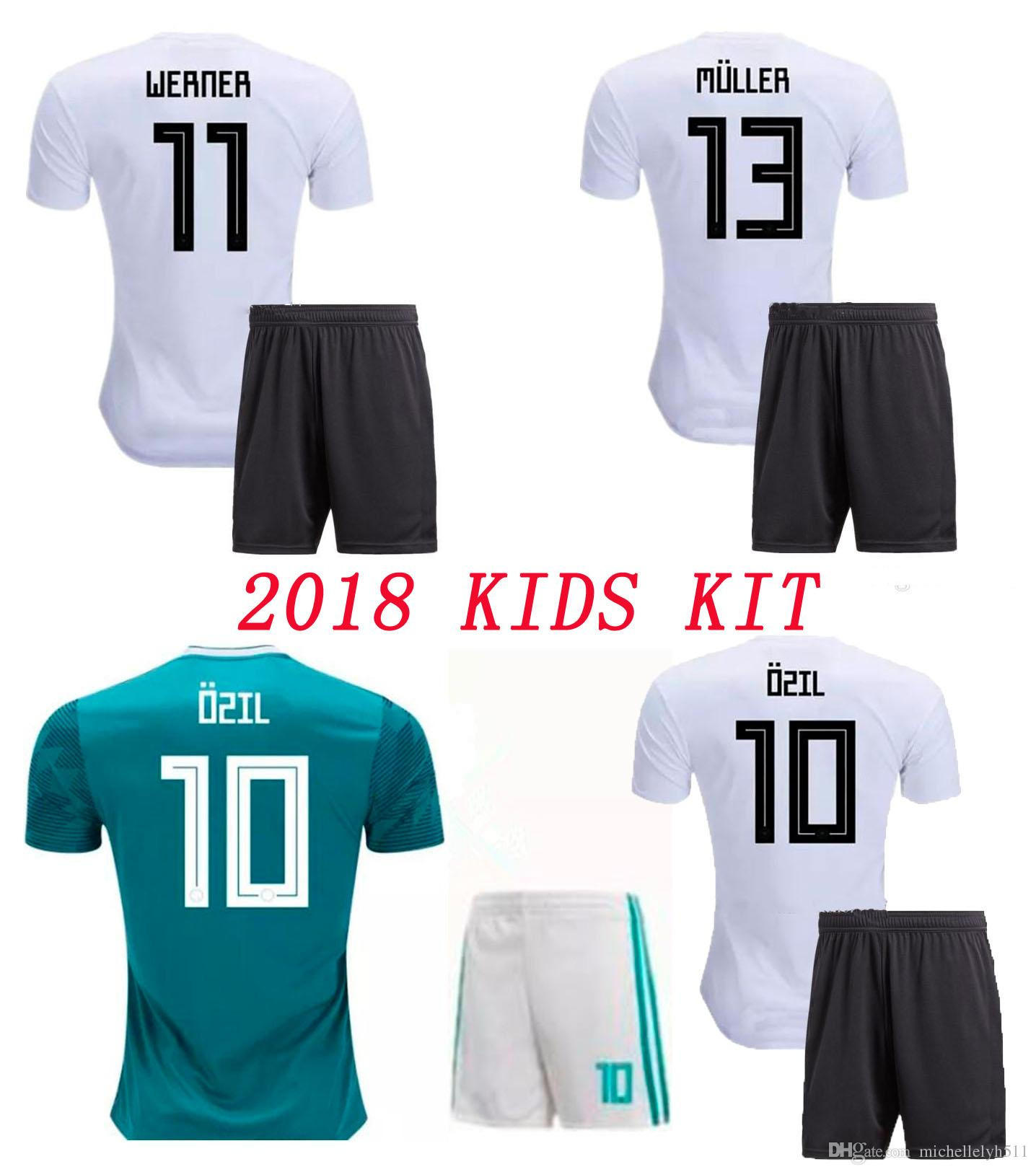 5c1e8243185 2019 2018 Kid Soccer Jersey Shorts 18 19 GORETZKA OZIL KROOS Sane DRAHLER  WERNER HECTOR MULLER Boys Child Football Uniform Germany Shirts From ...