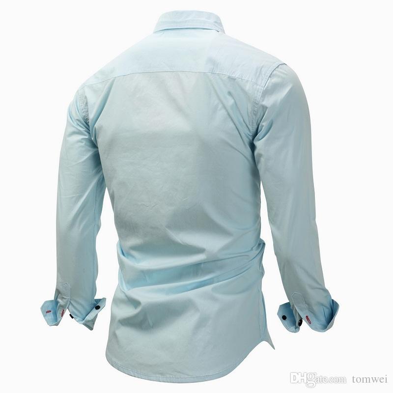2018 Uzun Kollu Gömlekler Slim Fit POLO Gömlek Erkek İlkbahar Sonbahar Giyim Marka Giyim Yüksek Kalite Yeşil Beyaz Mavi