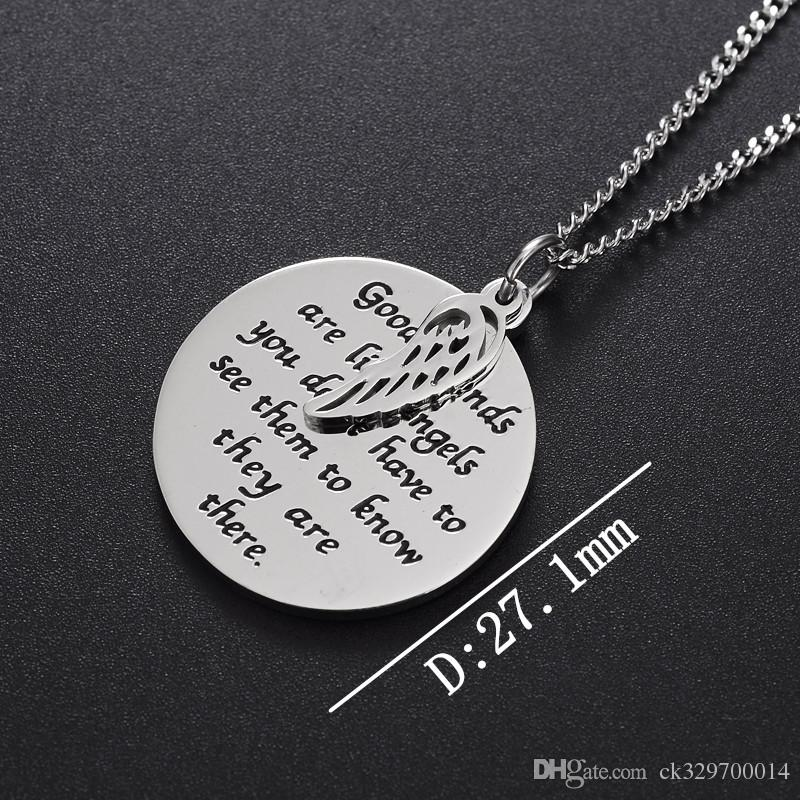 fashion good angel Stylish Circle necklace stainless steel wings necklace pendant necklace for women girl jewelry gift