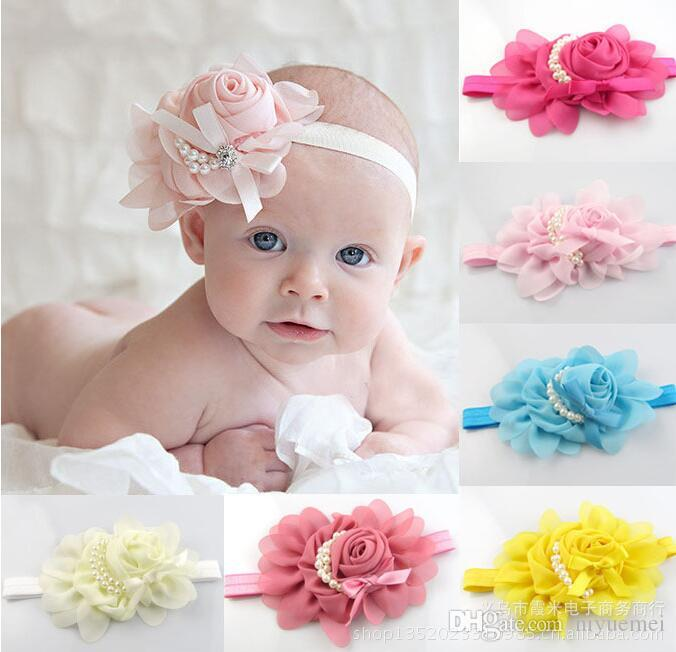Großhandel Baby Rose Pearl Blume Stirnband Baby Kind Chiffon ...