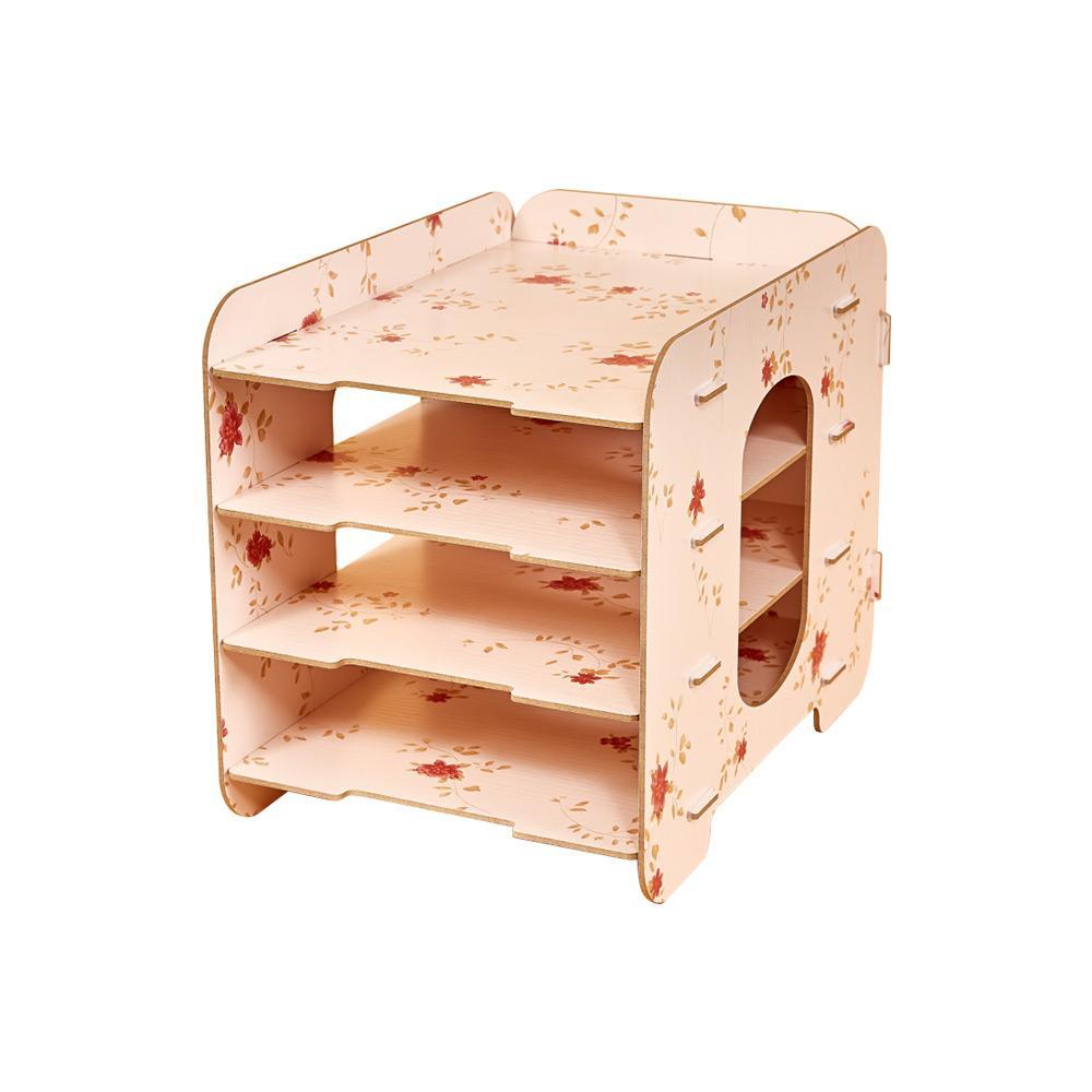 Desk Organizer Organizador 4 Compartments Desktop File Sorter Wood Document Holder Storage Shelf For Office School Set