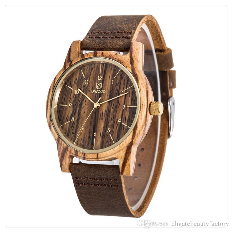 a8ee00f96475 Compre Reloj De Madera De Bambú Del Reloj De Madera De Las Mujeres De Los  Hombres De Lujo De La Venta Caliente Reloj De Pulsera De Cuero Del Cuarzo  Moda Y ...