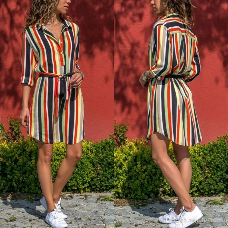 dbe68d3546 2019 Women Summer Striped Shirt Dress Ladies Casual Long Sleeve Loose Beach  Dresses 2018 Autumn Fashion Print Dress Vestido From Liweilisa, $12.07 |  DHgate.