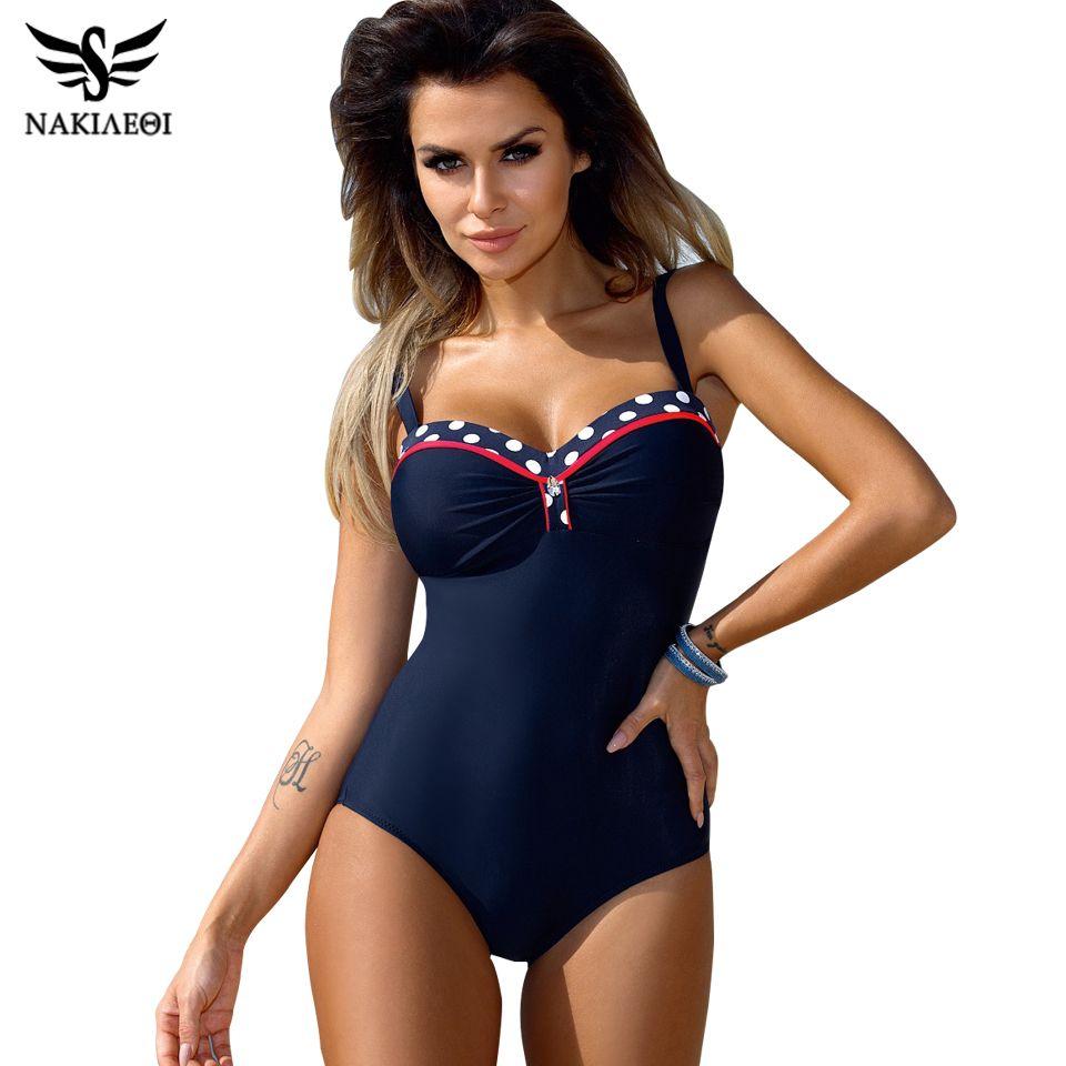 5a375baa00 2019 2018 NAKIAEOI 2018 One Piece Swimsuit Plus Size Swimwear Women Push Up  Swimwear Print Patchwork Vintage Retro Bathing Suit Swim Wear From  Z6241163, ...