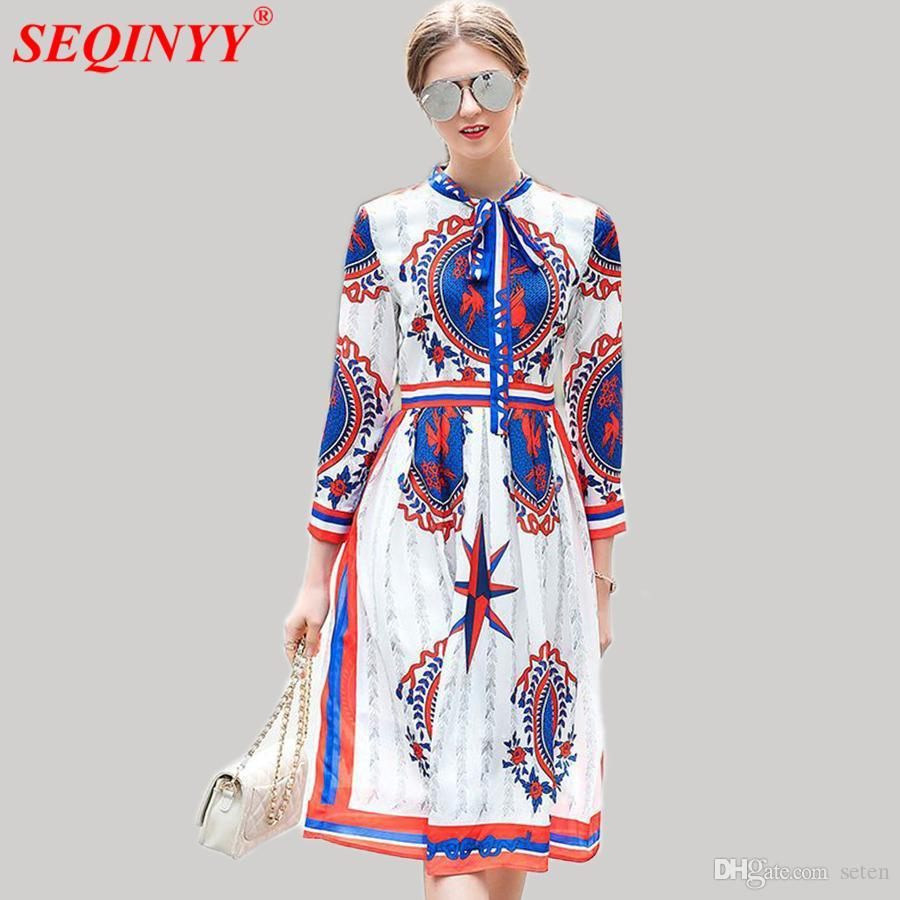 2921e95fdeb7 2019 Printed Dress Early Spring Summer New Fashion Runway 2018 High Street  Wrist Sleeve Bow Red Blue Drawing A Line Knee Dress From Seten