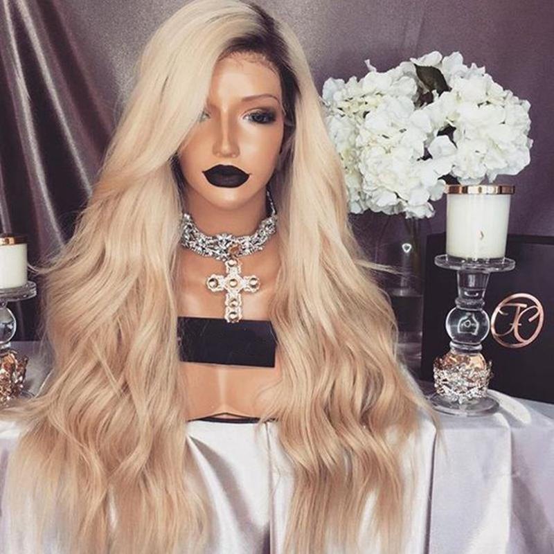 Stock body wave free Part Ombre Wig With Dark Roots Blonde Wig Glueless Synthetic Lace Front Wig With Baby Hair For African American Wigs