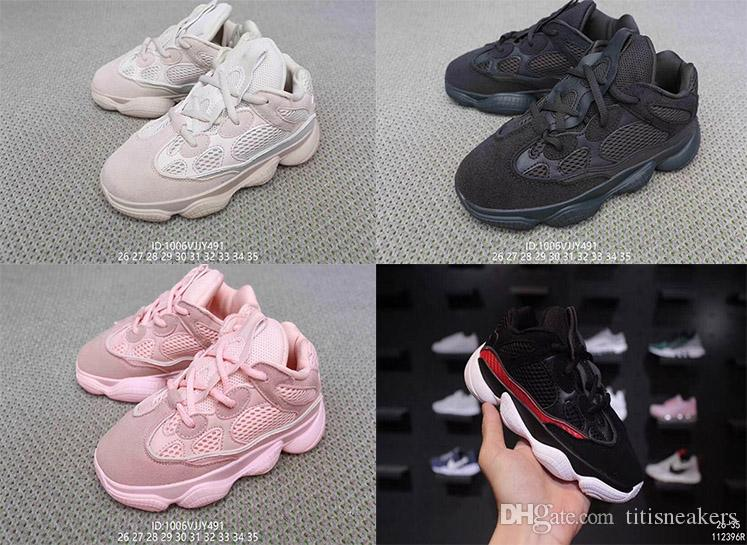 4aa822870670 Hot Sale Kids 500 Sneakers Blush Desert Rat Kanye West Shoes Designer Boy  Girl Running Shoes Black Pink Boys Sneaker Sale Discount Running Shoes  Online From ...