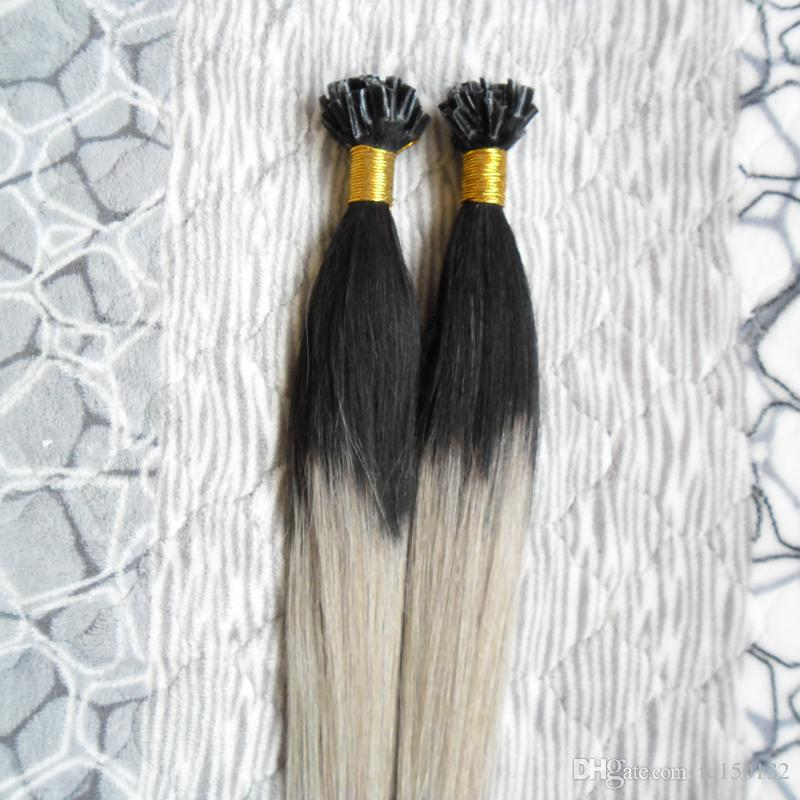 T1B/grey Ombre Keratin Human Fusion Hair Machine Made Remy Nail U Tip Capsule Human Hair Extension 100g/strands silver