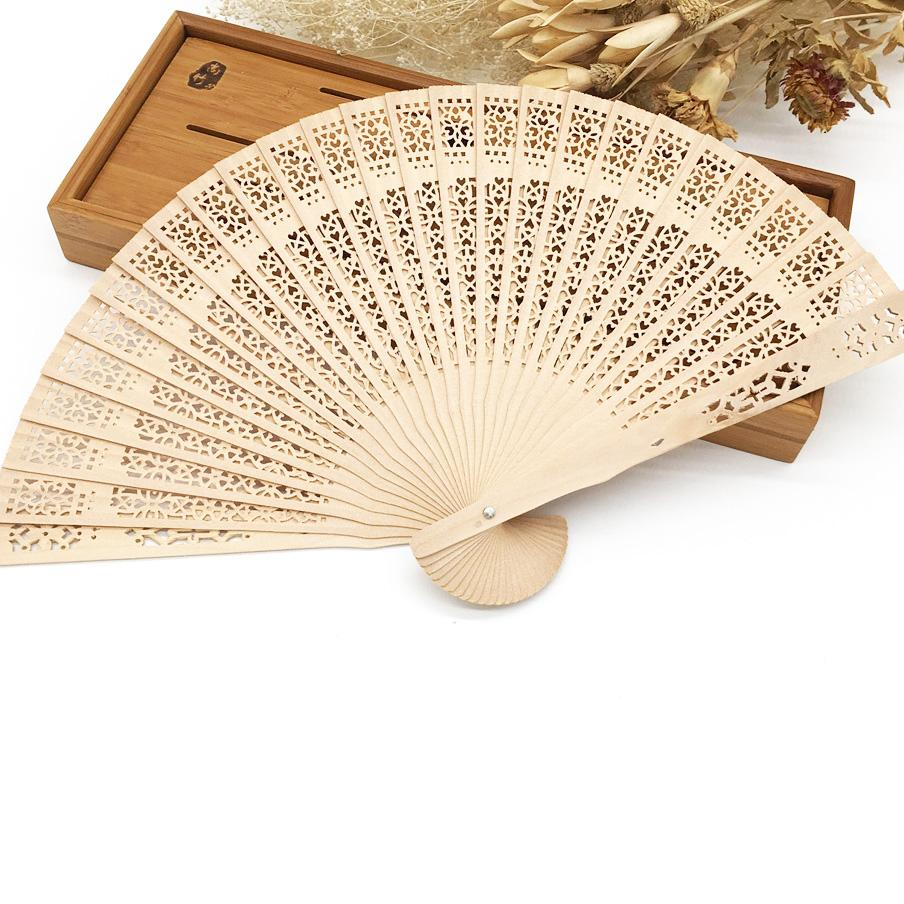 2018 8 Personalized White Sandalwood Folding Hand Fan With Organza ...