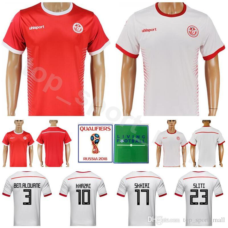 21029f6bf 2019 2018 World Cup Tunisia Soccer Jersey Men 8 FAKHREDDINE 11 KHALIFA 13  SASSI 12 MAALOUL Football Shirt Kits Home Red White 2 Syam Ben Youssef From  ...