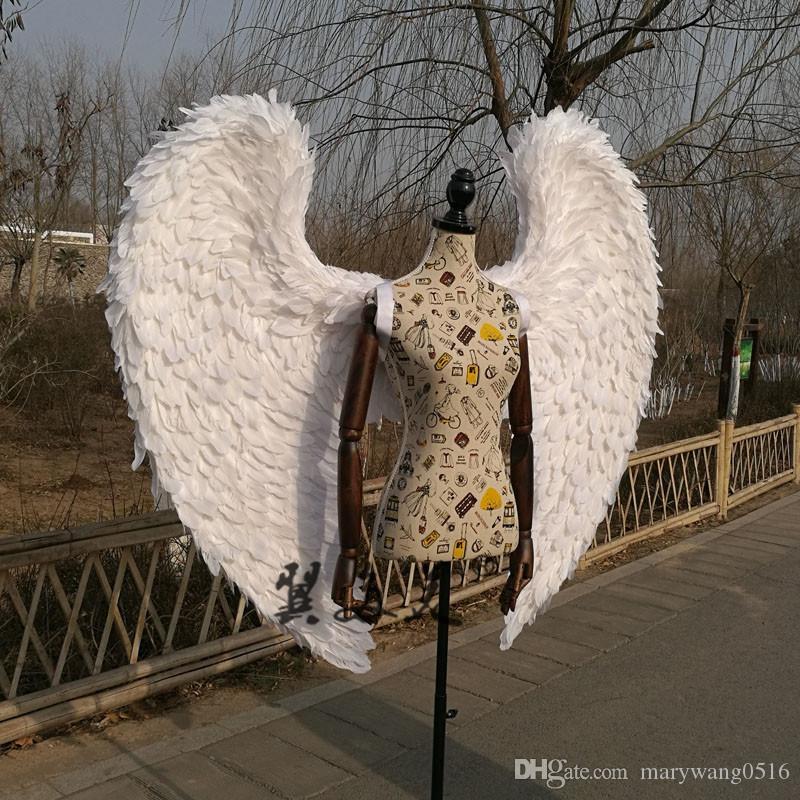 белые крылья ангела свадьба бар украшения фотосъемке Высокое качество косплей костюм взрослого реквизита Pure ручной работы EMS освобождает перевозку груза