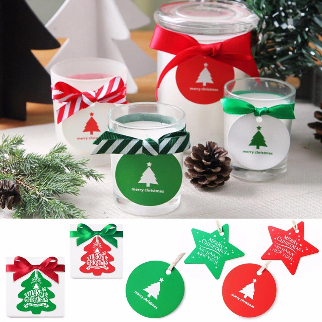 JX LCLYL 25/50/Christmas Paper Gift Wrap Tags Label Xmas Decorative ...