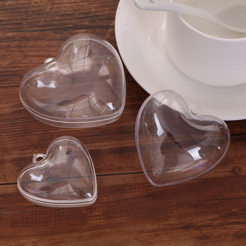 Romantic Love Heart Design Ball candy box Transparent Can Open Plastic Clear Bauble Ornament Christmas Decorations
