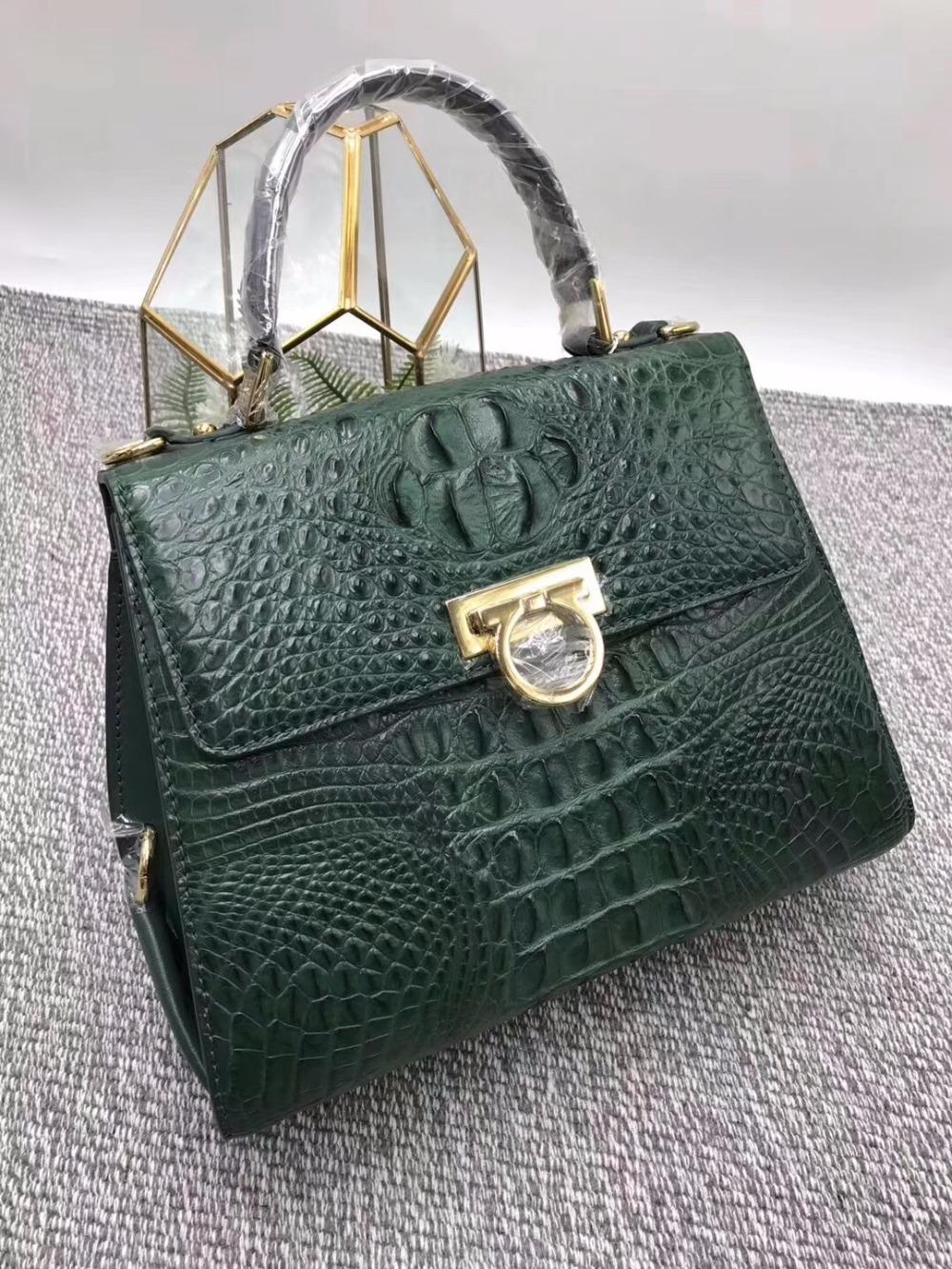 Luxury Famous Designer Genuine Crocodile Leather Women S Green Purse Exotic  Alligator Skin Ladies Female Metal Lock Handbag Rosetti Handbags Cheap Bags  From ... 57e9004e998a7