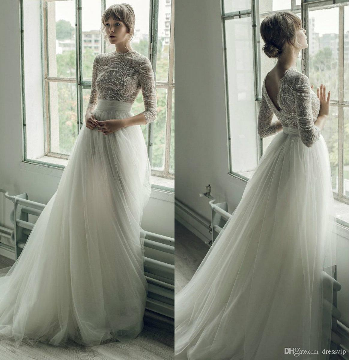 Ersa Atelier Wedding Dresses A Line Jewel Neck Lace Beads Pearls Sweep Train Long Sleeve Bridal Gowns Custom Plus Size Beach Wedding Dress