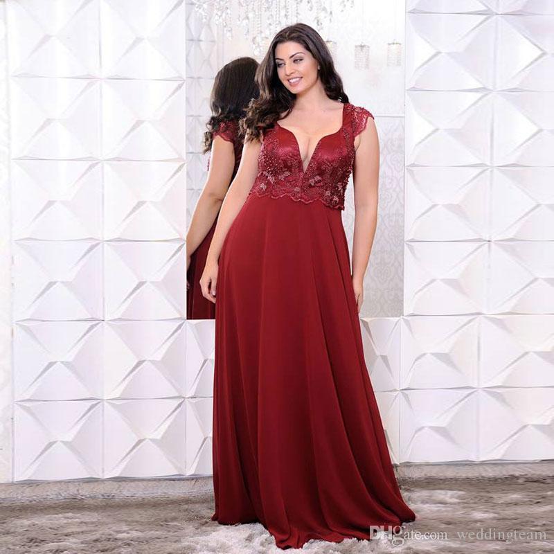 Burgundy Appliqued Plus Size Prom Dresses Sheer V Neck Beaded