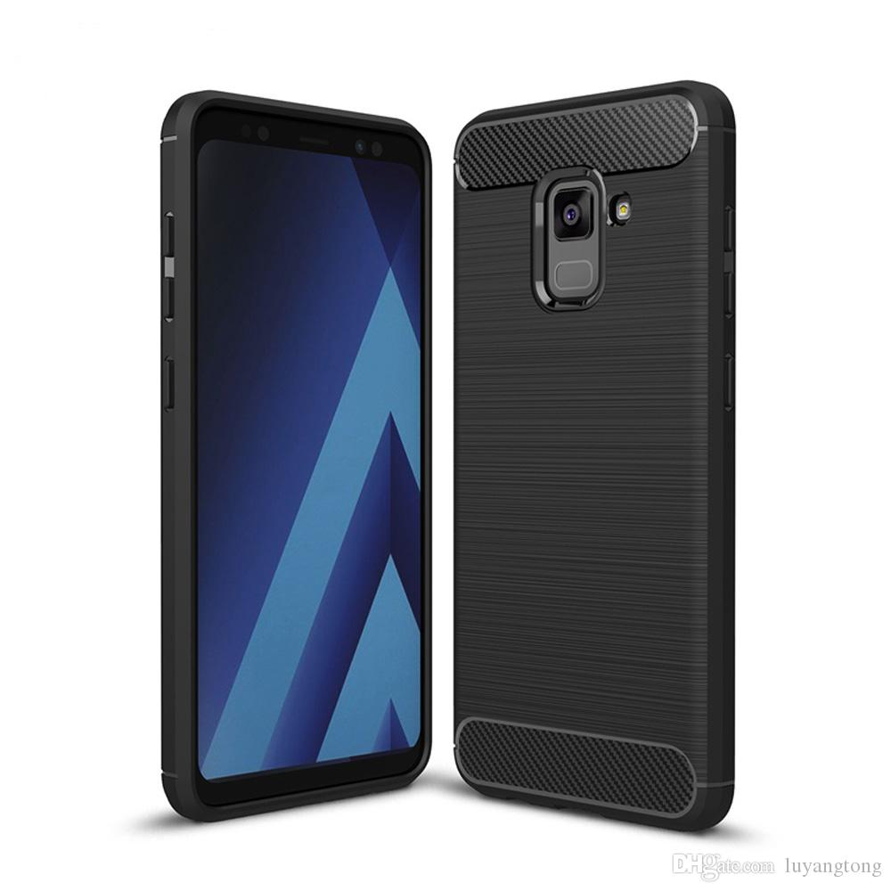 6ec55721b3e Carbon Fiber Slim Armor For Samsung Galaxy A8 Plus 2018 A8 2018 Hard Case  TPU Hybrid Tough Gel Soft Skin Back Silicon Cover Armor Case for Samsung  Galaxy A8 ...