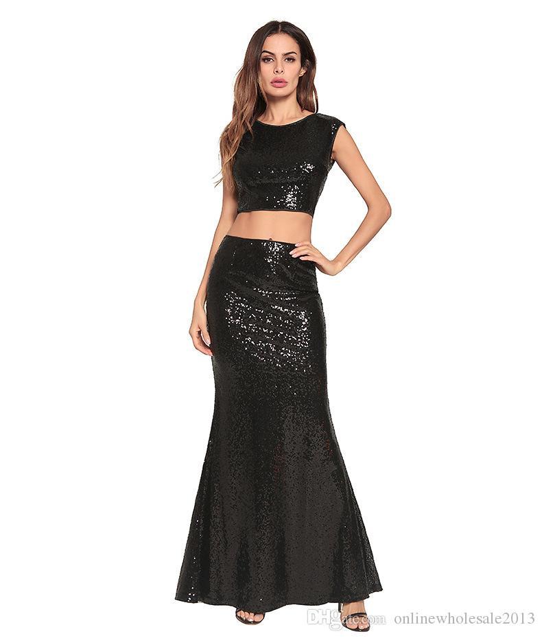 Nuevo estilo de ropa de noche sexy Falda dividida de dos piezas Lentejuelas Vestido sirena Vestido Bling