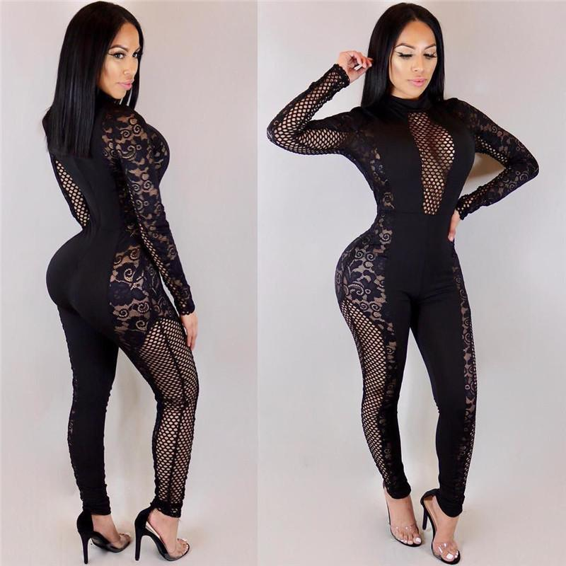 43da8aba1406 2018 Summer Women Lace Patchwork Jumpsuits Rompers Skinny Long Pants ...