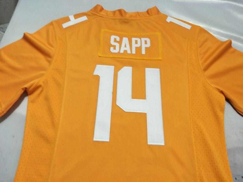 Men Tennessee Vols Quart'e Sapp #14 real Full embroidery College Jersey Size S-4XL or custom any name or number jersey