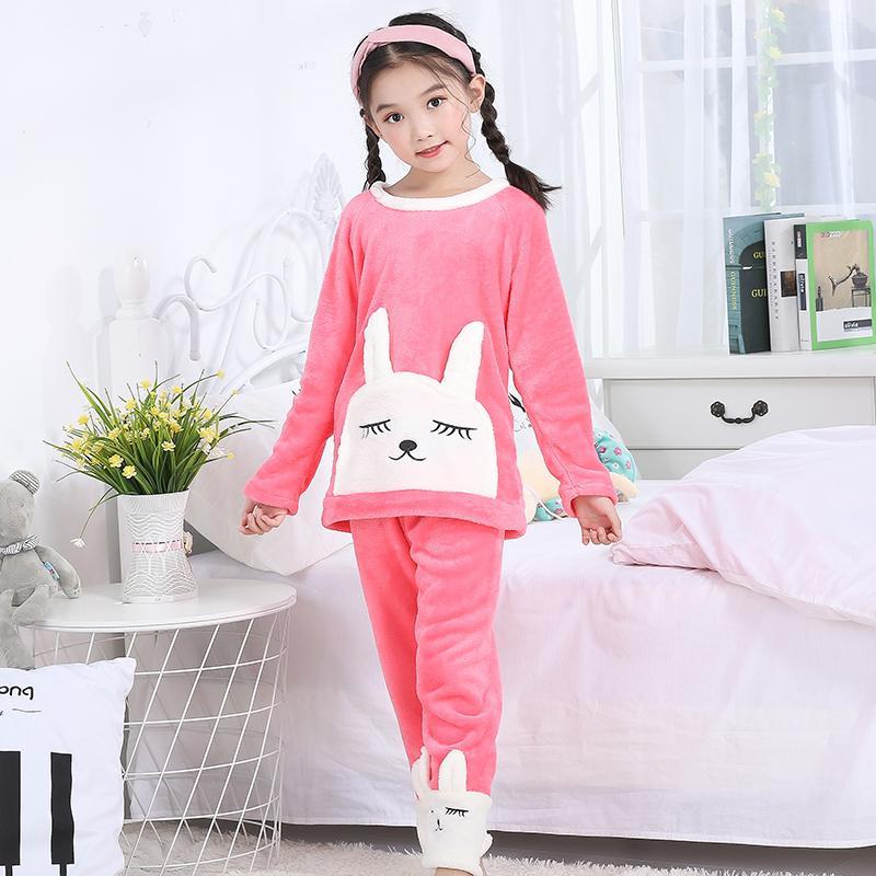 a51b491ca 2019 2019 Xmas Winter Children Fleece Pajamas Warm Flannel Sleepwear ...