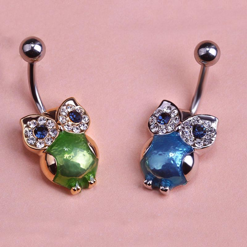 Kawaii Accessories for Sex Body Owl Piercing Jewelry Green Parrot Surgical Steel Belly Button Rings Piercings Gold Navel Ombligo