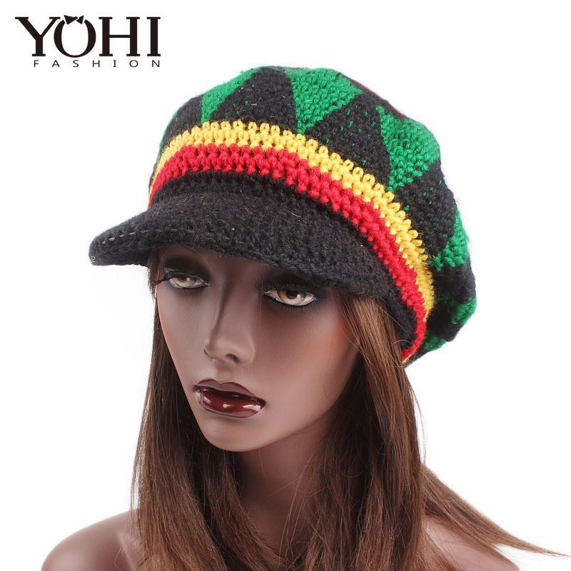 99c9cbb1b New fashion Fancy Dress Party Costume Hippie beret Marley Caribbean Popular  handmade crocheted hat along the wool cap