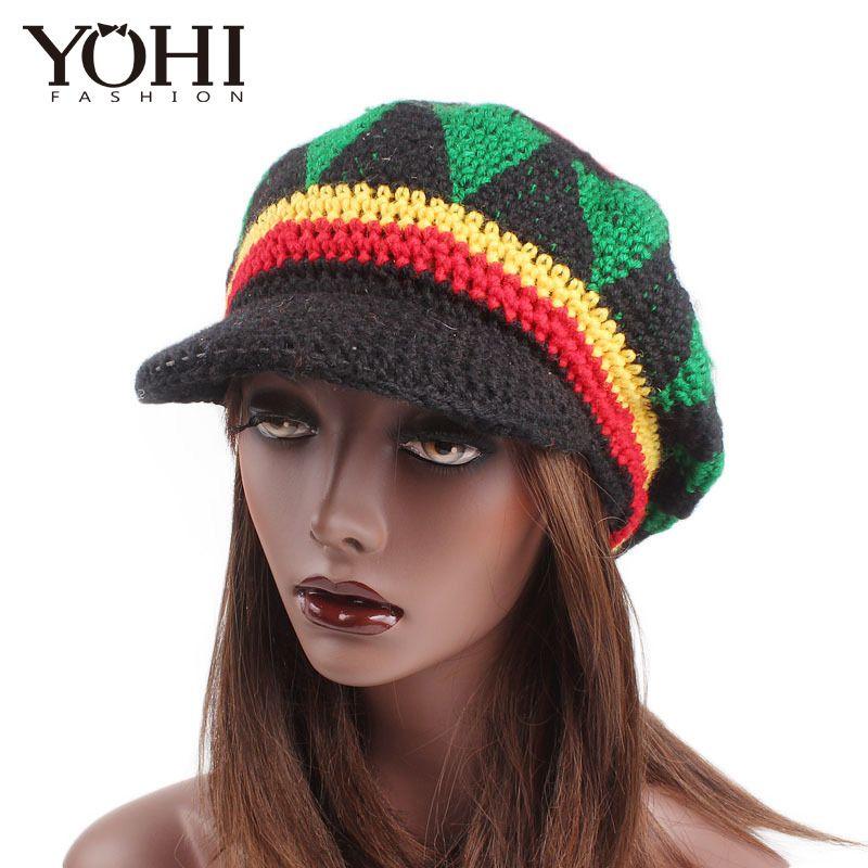 Compre Nueva Moda Disfraz Fiesta De Disfraces Hippie Boina Marley Caribe  Popular Sombrero De Ganchillo Hecho A Mano A Lo Largo Del Gorro De Lana A   37.17 ... fe9d71a5a73