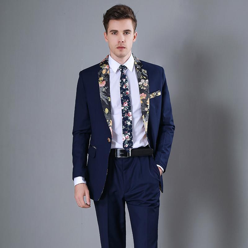 7d652f8484b5 Traje de hombre de moda Traje de azul marino de alto grado de moda Traje de  baño casual delgado para hombre (Chaqueta pantalón) Ternos Para Hombre ...