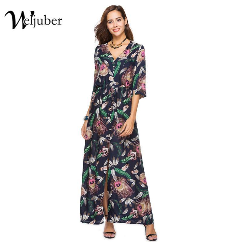 2018 Weljuber Women Bohemian Split Dress 2018 Boho Maxi Dresses