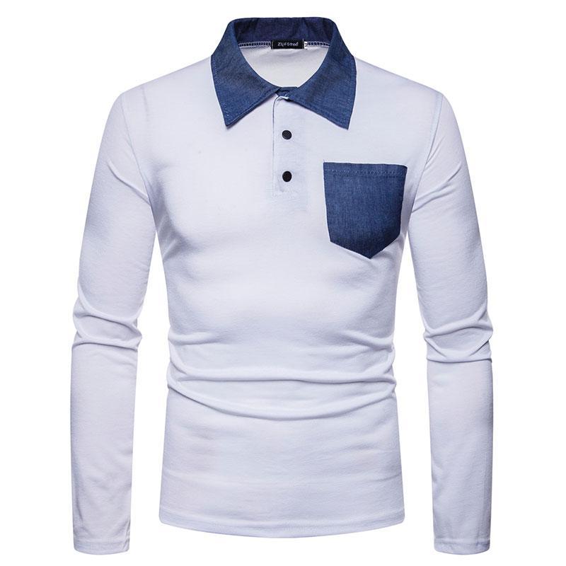 newest 3e7a5 d92fd Business Turn-Down-Kragen Slim Fit Brusttasche Patchwork Herren T-Shirts  Casual T-Shirt Homme Langarm-T-Shirt Mans