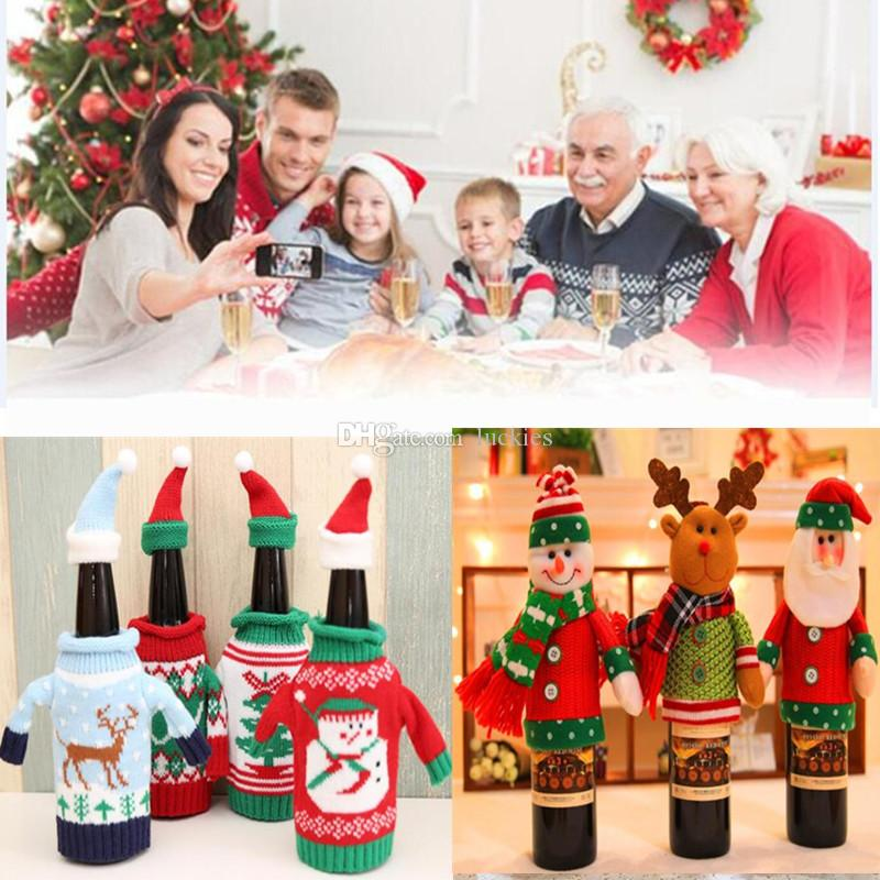 christmas wine bottle cover bag knitted sweater covers santa snowmen elk table decor bottle cap party christmas gift home decor 0237 best decorations for