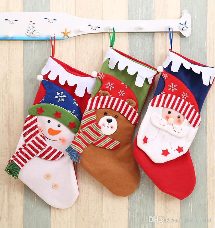 3 style snowflake hat christmas stockings kids christmas party cartoon santa claus snowman elk gift socks pink christmas decorations rooms decorated for