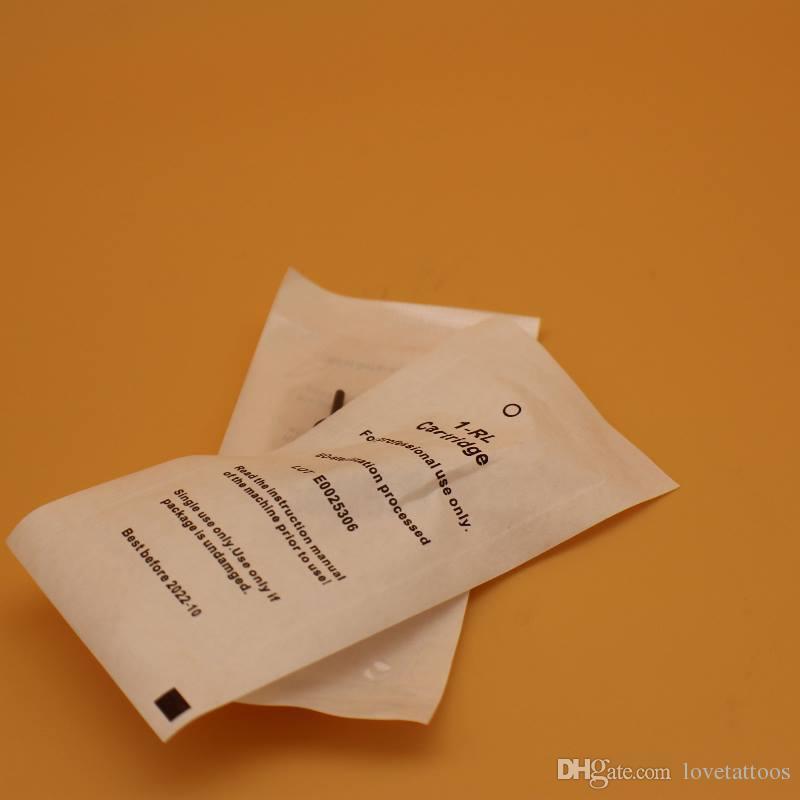 50 pçs / lote 0.2mm 1RL Sobrancelha Agulha de Tatuagem Descartáveis Steriliized Cartucho de agulhas para Nouveau contorno máquina de maquiagem permanente digital