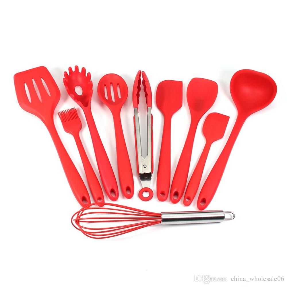 Silicone Kitchen Utensils, Cooking Utensil Set Spatula, Spoon, Ladle,  Spaghetti Server, Slotted Turner. Cooking Tools Unusual Gadgets For The  Kitchen ...