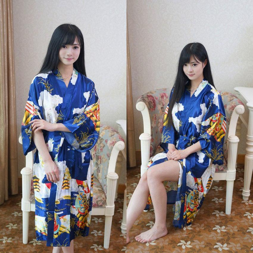 a8ce8b7883 2019 Women Vintage Dress Japanese Traditional Costumes Lace Up Long Satin  Sleep Wear Bathing Robe Yukata For Women Kimono Pajamas From Duanhu