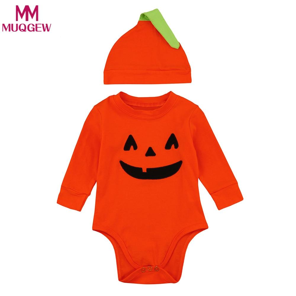 e49955882b0 2019 2018 New Infant Baby Boys Girls Outfits Halloween Pumpkin Romper  Jumpsuit+Hat Clothes Orange Baby Clothing For Newborns From Entent