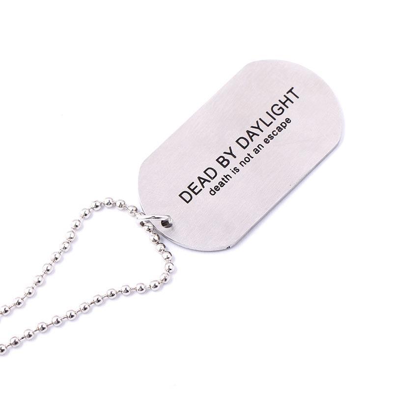 DroidHaunt Game Dead by Daylight Necklace Collar de Cadena de Perlas Colgante de Collar de Cadena de Perlas de Acero Inoxidable Hombres Joyería de Los Fans de Regalo