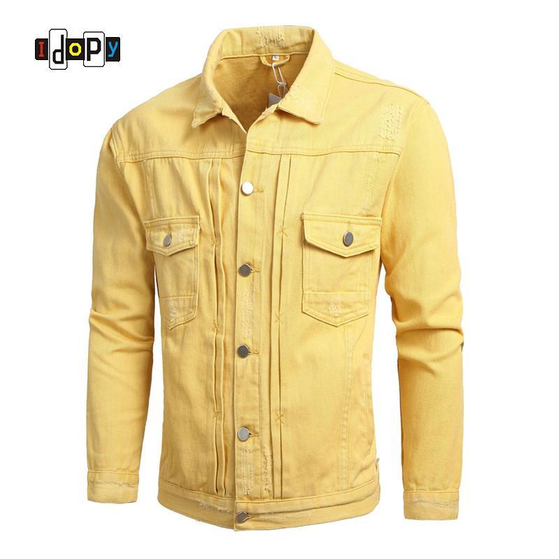 Compre Idopy Moda Para Hombre Ripped Slim Fit Chaqueta De Mezclilla Y  Abrigo Moda Apenada Denim Trucker Jacket Chaqueta Prendas De Vestir  Exteriores Para ... 01e0dd729f1