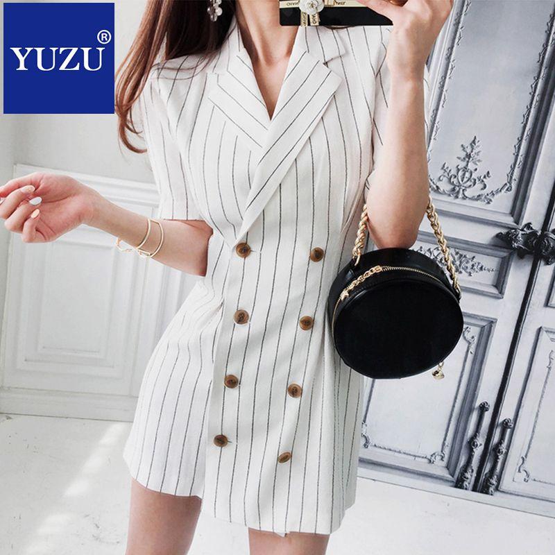 Compre Vestidos Formales De La Chaqueta De Las Mujeres Para El Trabajo  Verano Elegante Cruzado Rayas Blancas Negras Con Cuello De Muesca Mini  Vestido De ... a12686d6e155