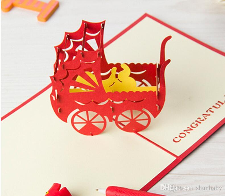 3D Pop Up Greeting Card Baby Carriage Birthday Christmas Custom Greeting Cards Gift card with envelope Hot