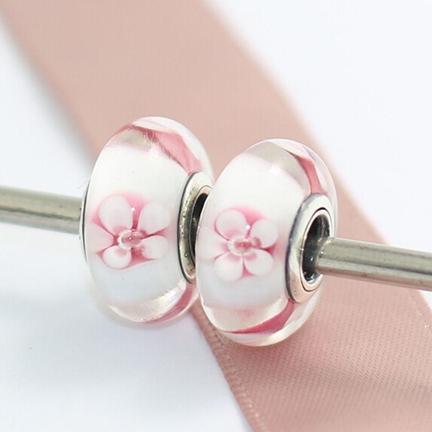925 Sterling Silver Thread Lampwork Flowers Murano Glass Loose Beads Fit European Pandora DIY Bracelet Necklace-m36