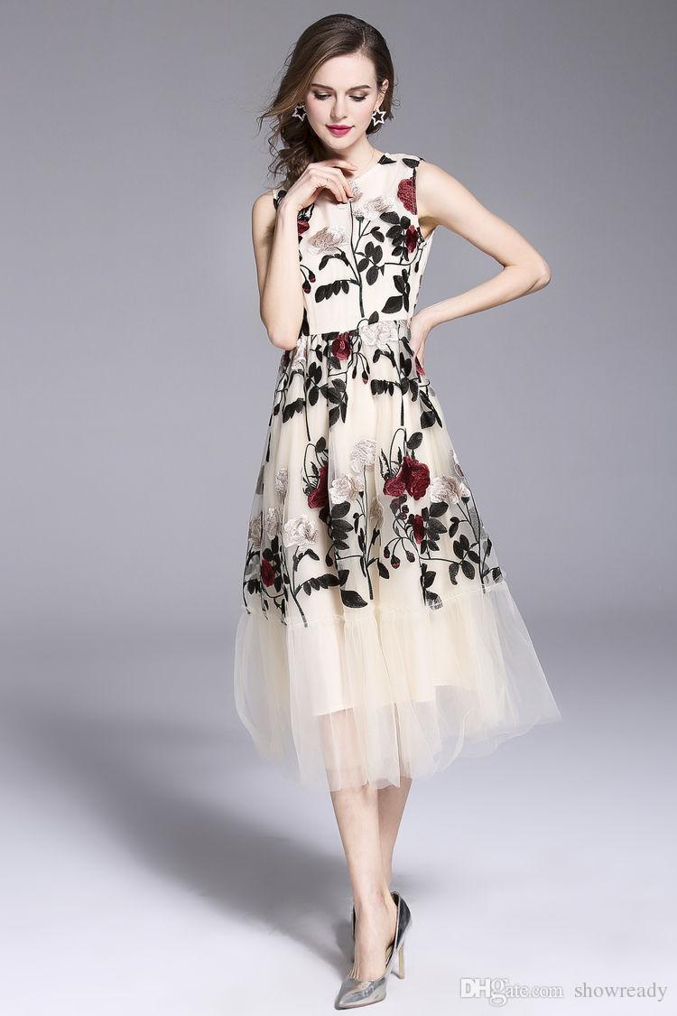 New Summer Heavy Embroidery Dress For Women, Mesh Sleeveless Evening Dress Print Sexy Lace Dress Woman